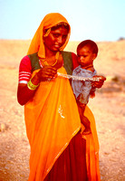 Woman and child on the Thar desert.