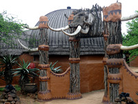 Village is decorated wih elephant skull.